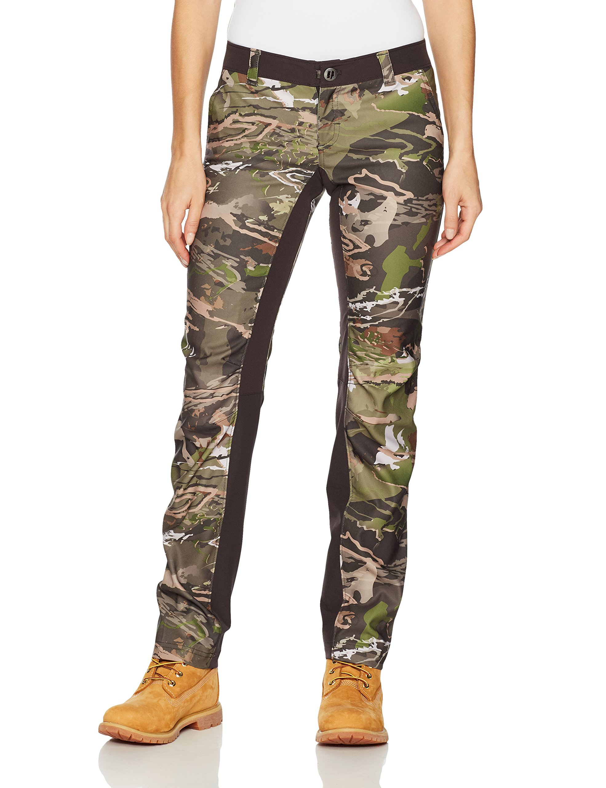 Under Armour Women's Fletching Pant,Ridge Reaper Camo Fo /Metallic Beige, 8 by Under Armour