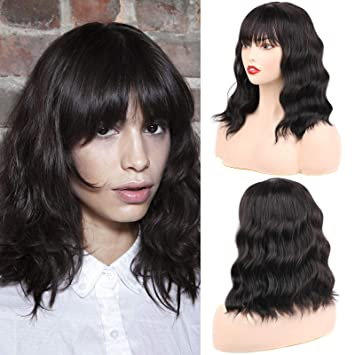 Huarisi 14 Synthetic Bob Wig Natural Short Hair With Middle Part Fringe Bangs Heat Resistant Synthetic Hair Wigs With Simulation Scalp Shoulder Length Daily Party Wigs Natural Hairline For Women Amazon De Beauty