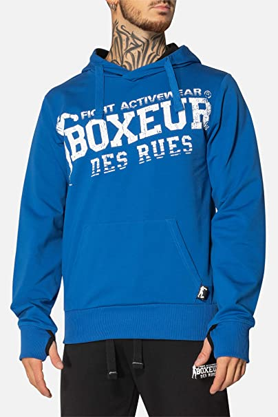 Boxeur des rues - Royal-Blue Hoodie with Thumb Holes, Man