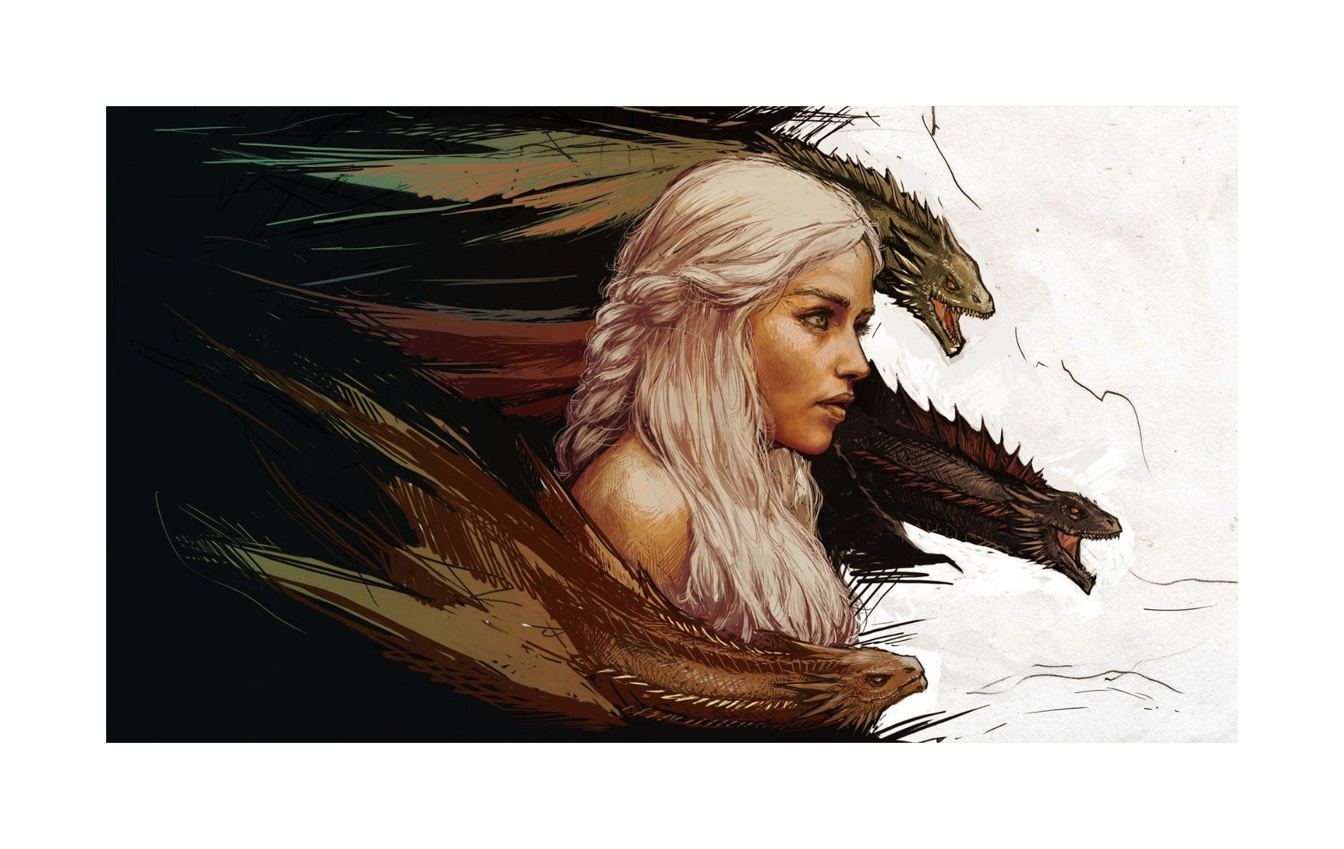 Khaleesi and Dragons - Game Of Thrones - 22 x 34 Inch Poster