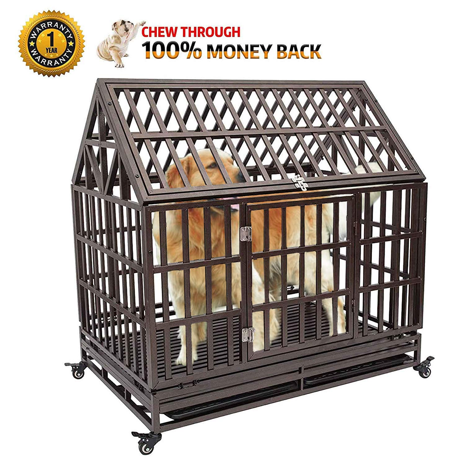 Haige Pet Your Pet Nanny 38'' Heavy Duty Dog Crate Cage Kennel Playpen Large Roof Steel Strong Metal for Medium and Large Dogs with Lock and Four Lockable Wheels