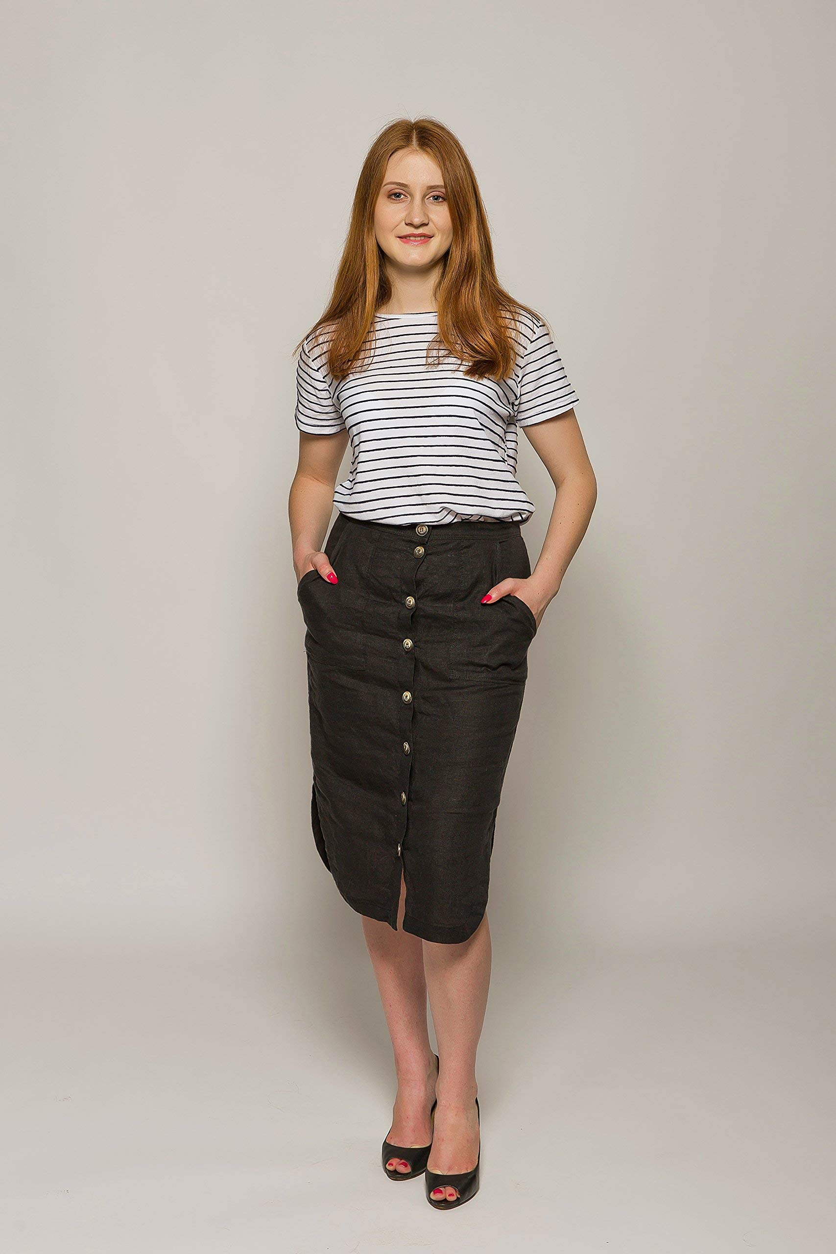 Linen Pencil Skirt with Buttons - Black Linen Midi Fashion Skirt - Different Sizes