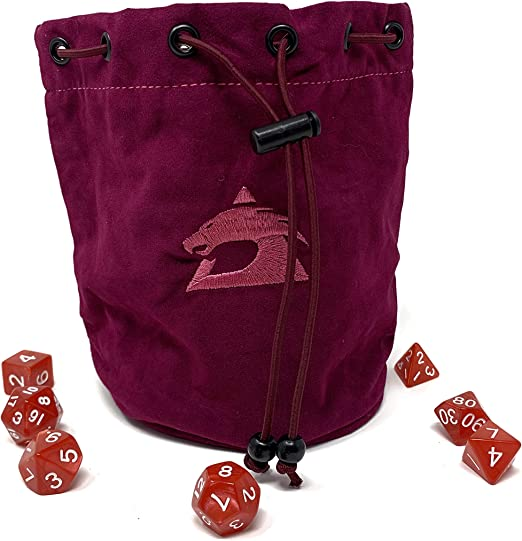 Faux Suede Dice Bag Brown and Green Divided Sectioned Zipper Dungeons and Dragons D/&D RPG Role Playing Die Miniatures Free US Shipping