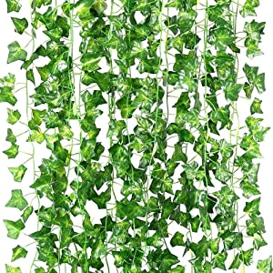 ELINSON 84 Feet Artificial Ivy Leaf Plants Fake Vine Hanging Garland Greenery Foliage for Home Kitchen Garden Office Wedding Wall Decor (Ivy/12 Strands)