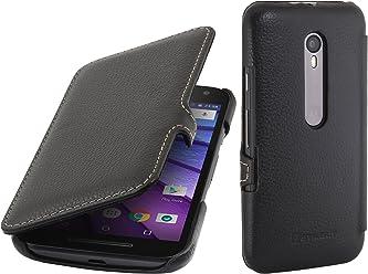 StilGut Book Type Case con Clip, Custodia in Vera Pelle per Motorola Moto G, Nero