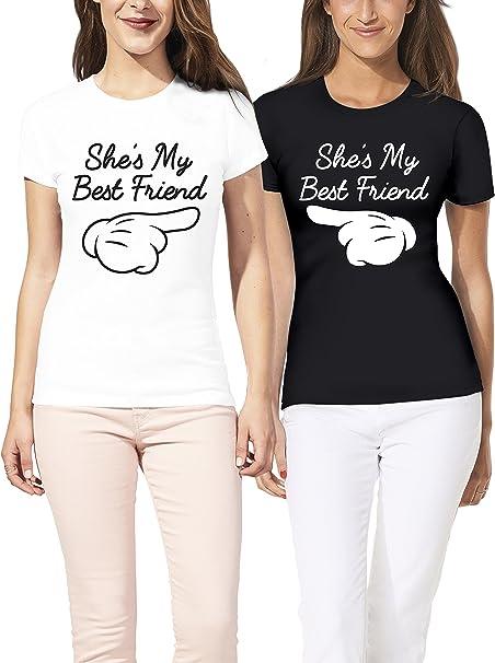 VIVAMAKE® Pack 2 Camisetas de Mujer Originales para Mejores Amigas con Diseño My Best Friend: Amazon.es: Ropa y accesorios