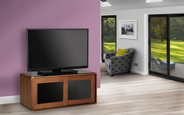 Centurion Supports Nora Gloss Black con Gloss Black fascio-Thru vetro scorrevole porte a distanza friendly 26-52 TV//OLED//LCD LED Cabinet