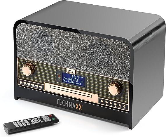 Technaxx Radio estéreo Retro Dab+/FM con Reproductor de CD y USB TX-102 Bluetooth, reproducción en Negro