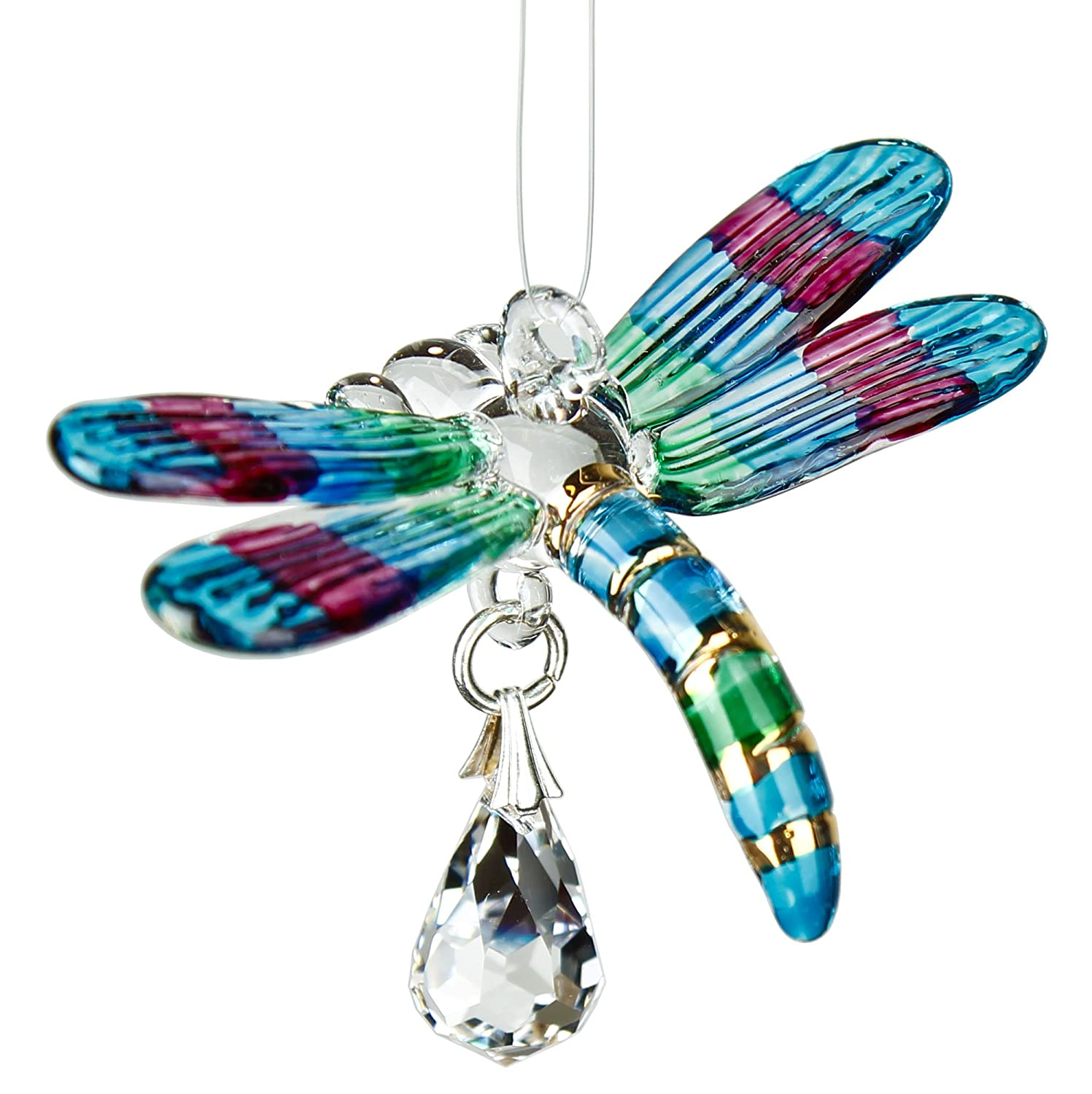 Woodstock Chimes Rainbow Maker Fantasy Glass Dragonfly Suncatcher, Spring Pastels CDPAS