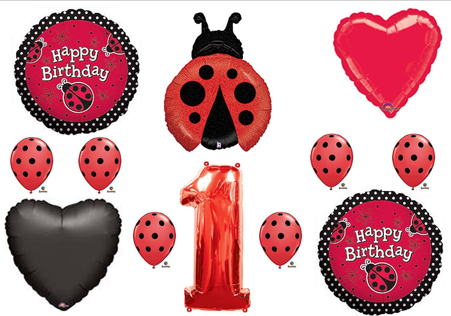 Sensational Amazon Com Ladybug 1St First Birthday Party Balloons Decorations Personalised Birthday Cards Sponlily Jamesorg
