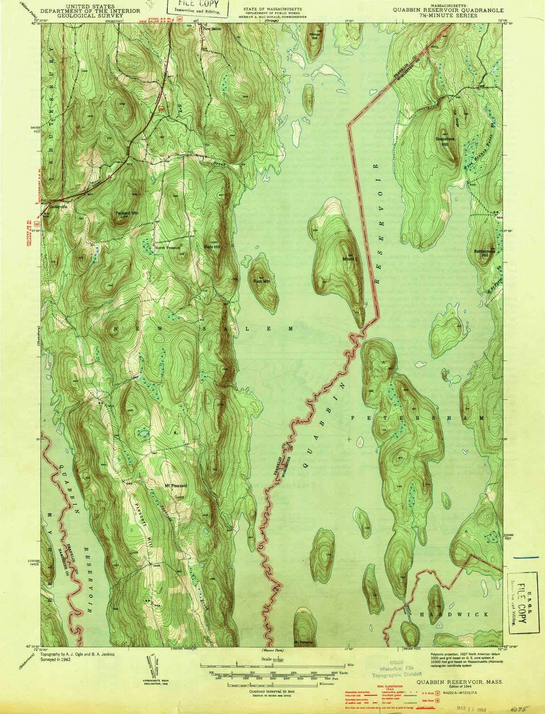 Amazon.com : YellowMaps Quabbin Reservoir MA topo map, 1:31680 Scale on