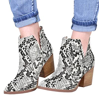 Kathemoi Womens Ankle Boots Slip on Cutout Pointed Toe Snakeskin Chunky Stacked Mid Heel Booties | Ankle & Bootie