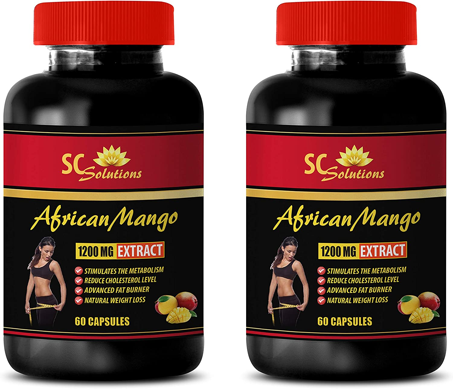Blood Sugar Reducer - African Mango Extract 1200MG - African Mango Seed Extract Powder - 2 Bottles (120 Capsules)