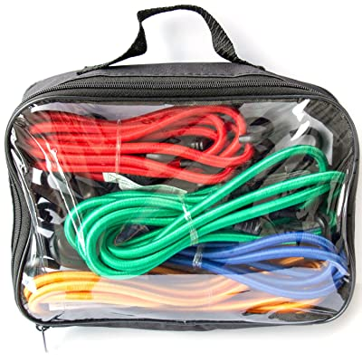 Bungee Cord Assortment - Premium 16 Piece Set with Plastic Coated Metal Hooks