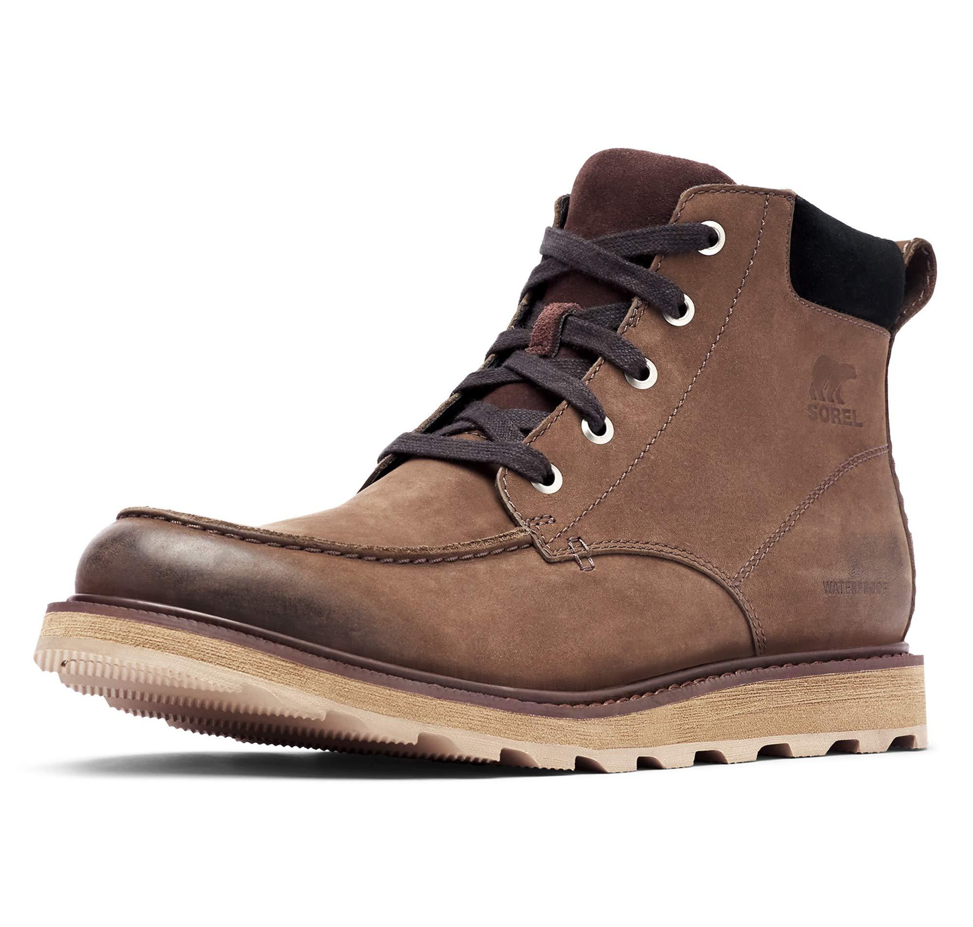 Sorel - Men's Madson Moc Toe Waterproof Boot, All-Weather Footwear for Everyday Wear, Bruno/Black, 10.5 M US by Sorel