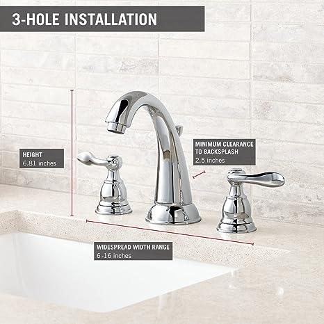 Delta B3596LF Windemere 2-Handle Widespread Bathroom Faucet with ...