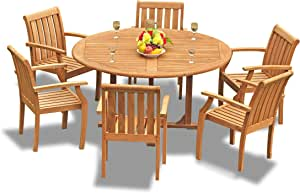 """7-pc Outdoor Teak Dining Furniture Set: 60"""" Round Table & 6 Somer Arm Chairs"""
