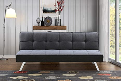Amazon.com: BroyerK 3-Seat Sofa Bed Sleeper Futon (Dark Grey ...