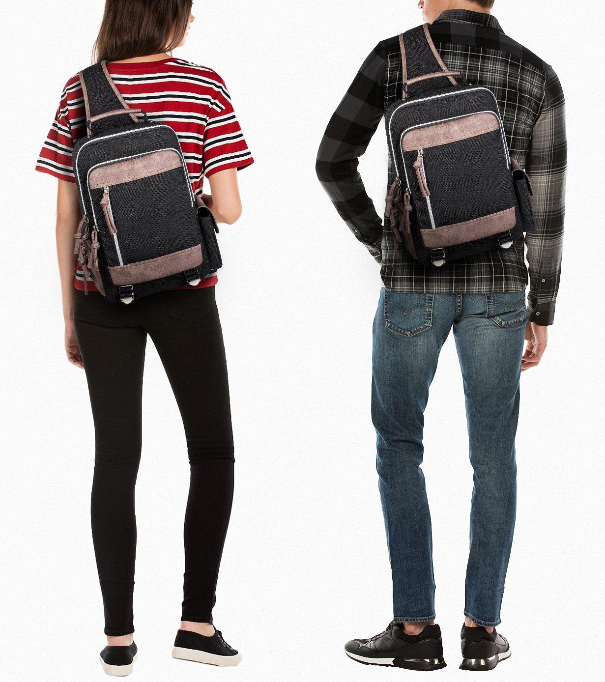 Leaper Retro Messenger Bag Outdoor Cross Body Sling Bag Travel Bag Shoulder Backpack (Black3103) by Leaper (Image #6)