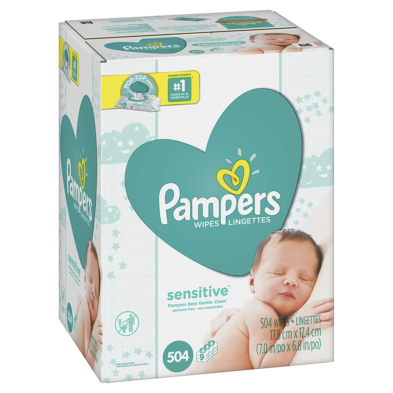 Pampers Sensitive Water-Based Baby Diaper Wipes, 9 Pop-Top Travel Packs - Hypoallergenic and Unscented - 504 Count Procter & Gamble - MF