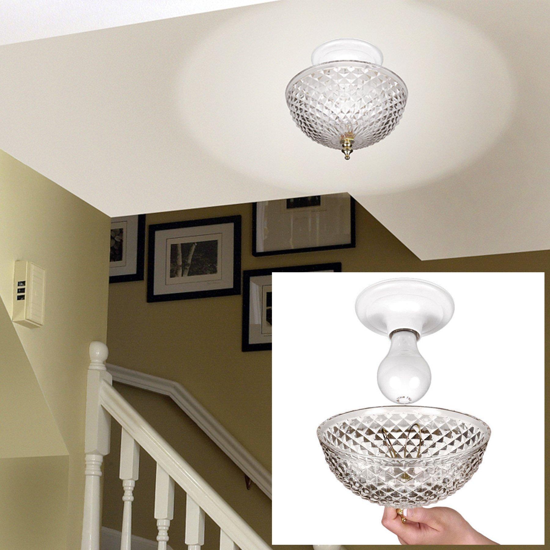 Clip-on Light Shade - Diamond Cut Acrylic Dome Lightbulb Fixture - 7 3/4''