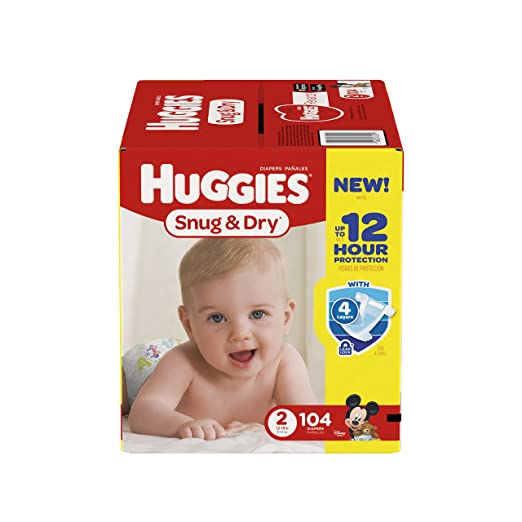 Huggies Snug & Dry Diapers, Size 2, 104 Count (Packaging May Vary)