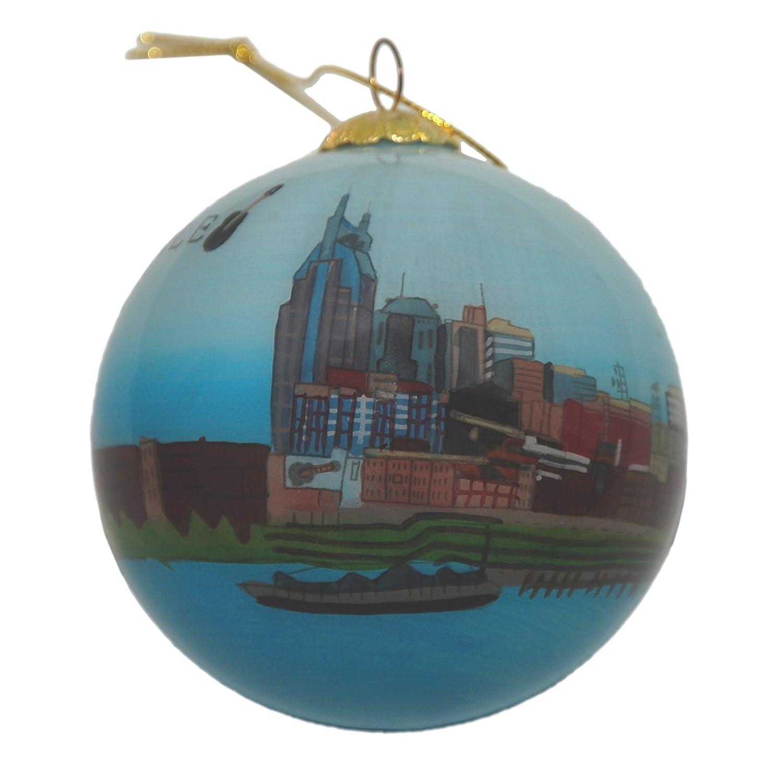 Nashville Skyline Glass Ornament