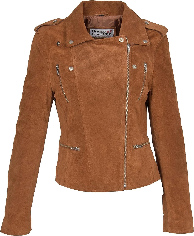 Femmes Suede V/éritable Bronzer Veste De Motard Filles X-Zip Ajust/é Manteau en Cuir De Cr/éateur Rusty