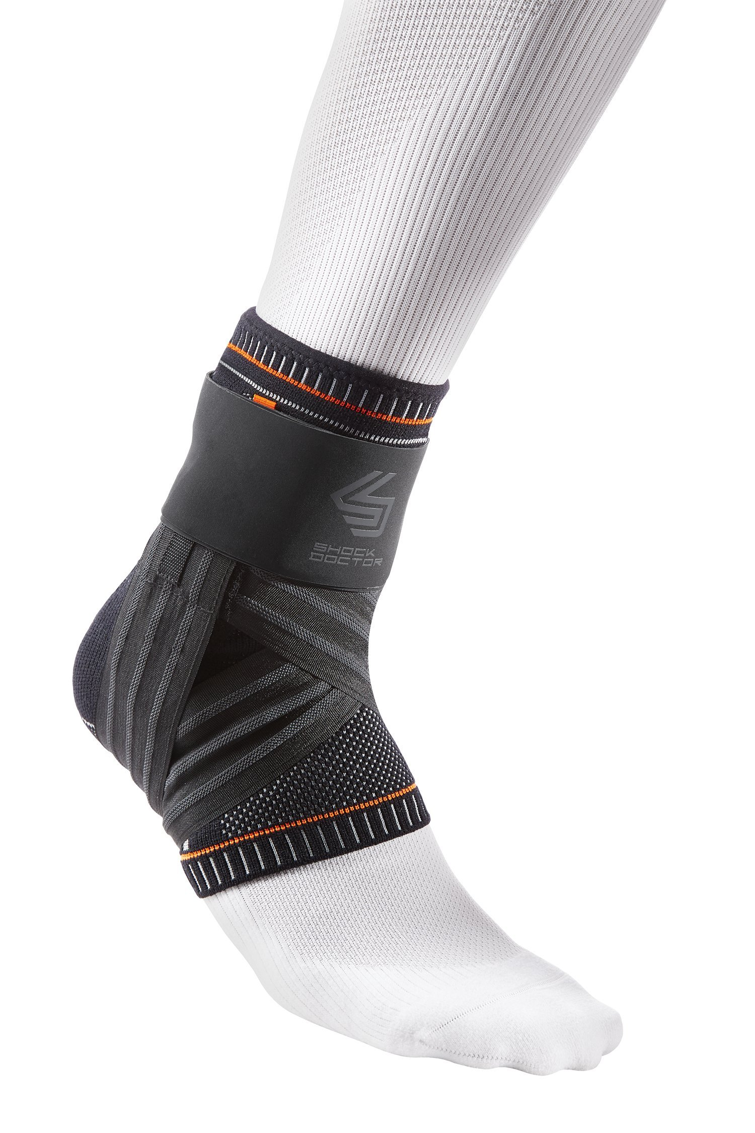 Shock Doctor Ultra Knit Ankle Brace W/Figure 6 Strap & Stays Black, Small