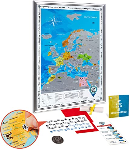 Mapa Rascar de Europa en el Marco Plata - Mapa de Europa Rascar Grande Detallado 48 x