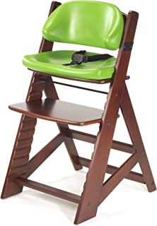 product image for Keekaroo Height Right Kids High Chair with Comfort Cushions, Mahogany/Lime (0055213KR-0001)