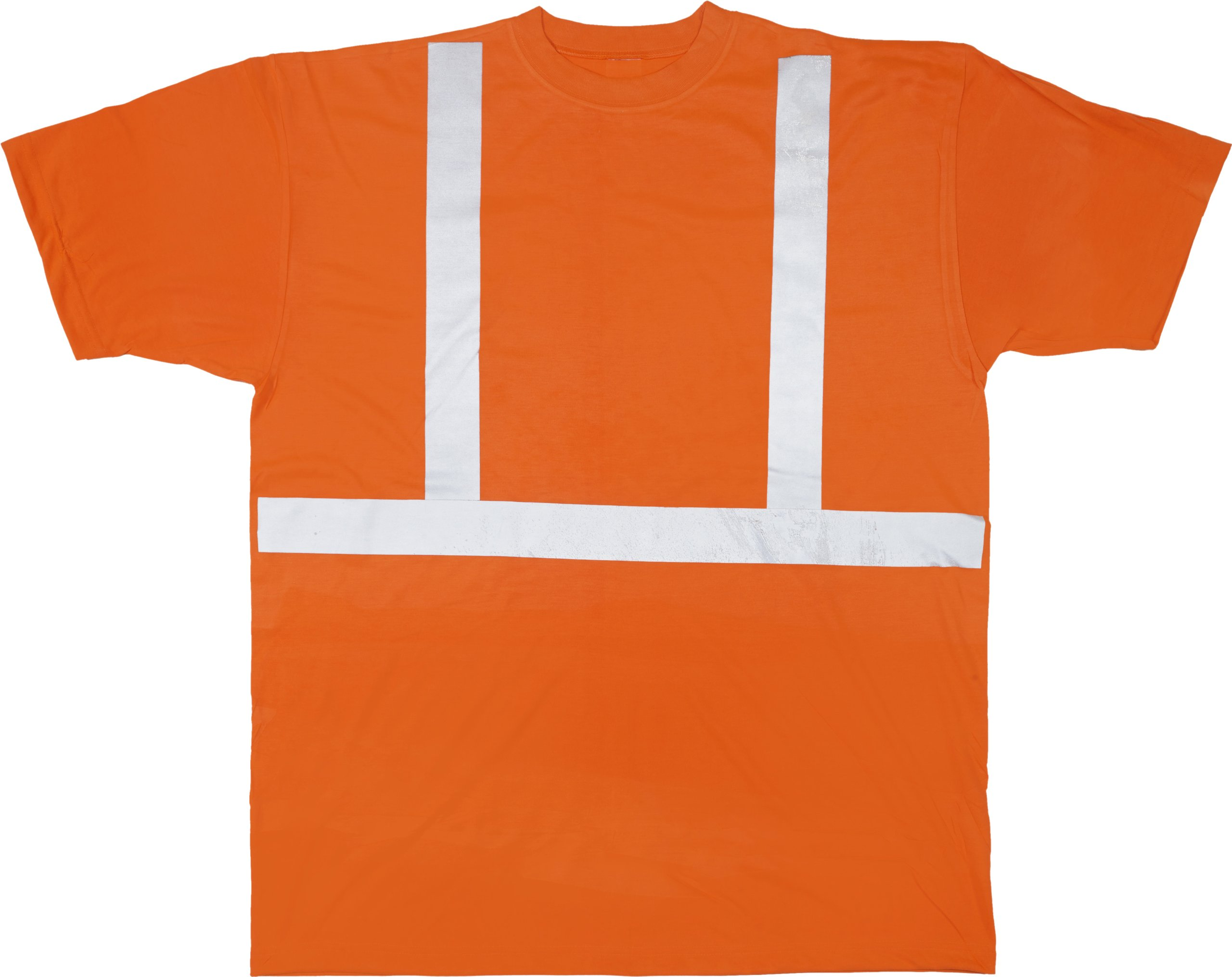 Mutual 16357 High Visibility Polyester ANSI Class 2 Safety Tee Shirt with 2'' Reflective Silver Stripes, 3X-Large, Orange