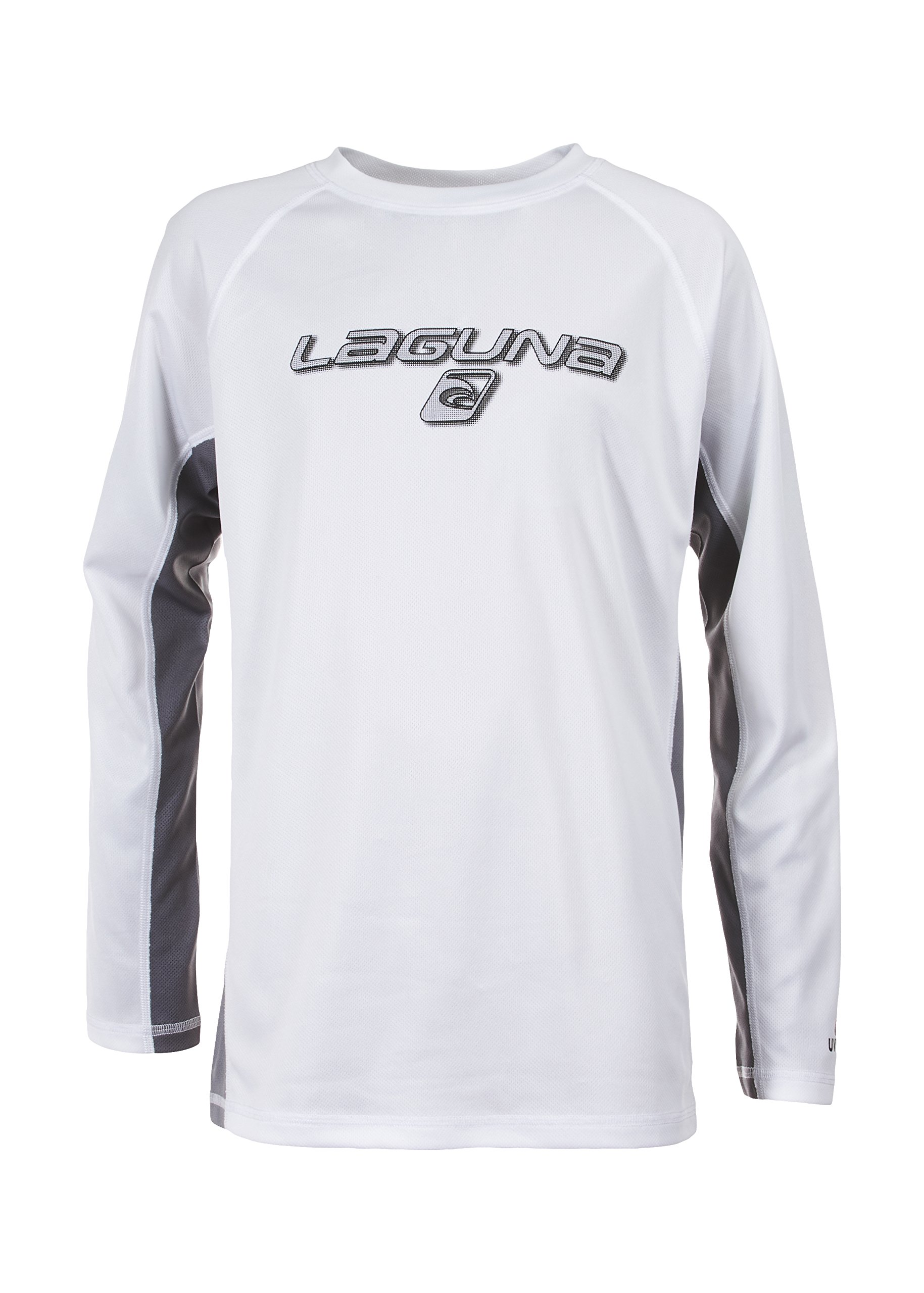Laguna Children's Surf Beat Loose Fit Long Sleeve Rashguard Swimwear, White, 14/16