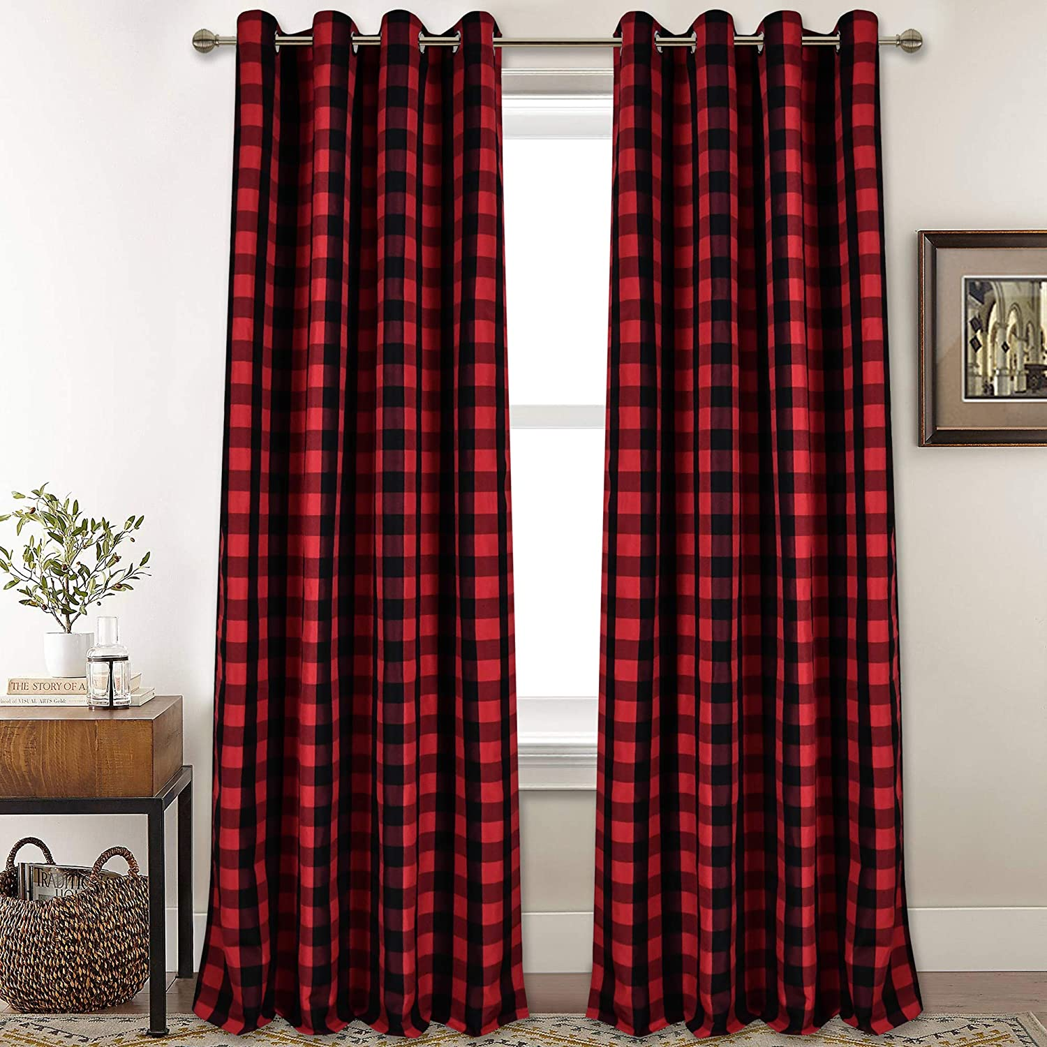 Watercolor Plaid Custom Curtain Panel by Spoonflower Gingham Curtain Panel Red Plaid In Watercolor by daria/_nokso
