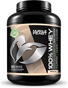 100% Whey Protein   Grass Fed & Hormone Free   Blend of Isolate, Concentrate and Hydrolyzed Whey Protein (5lb, Vanilla)
