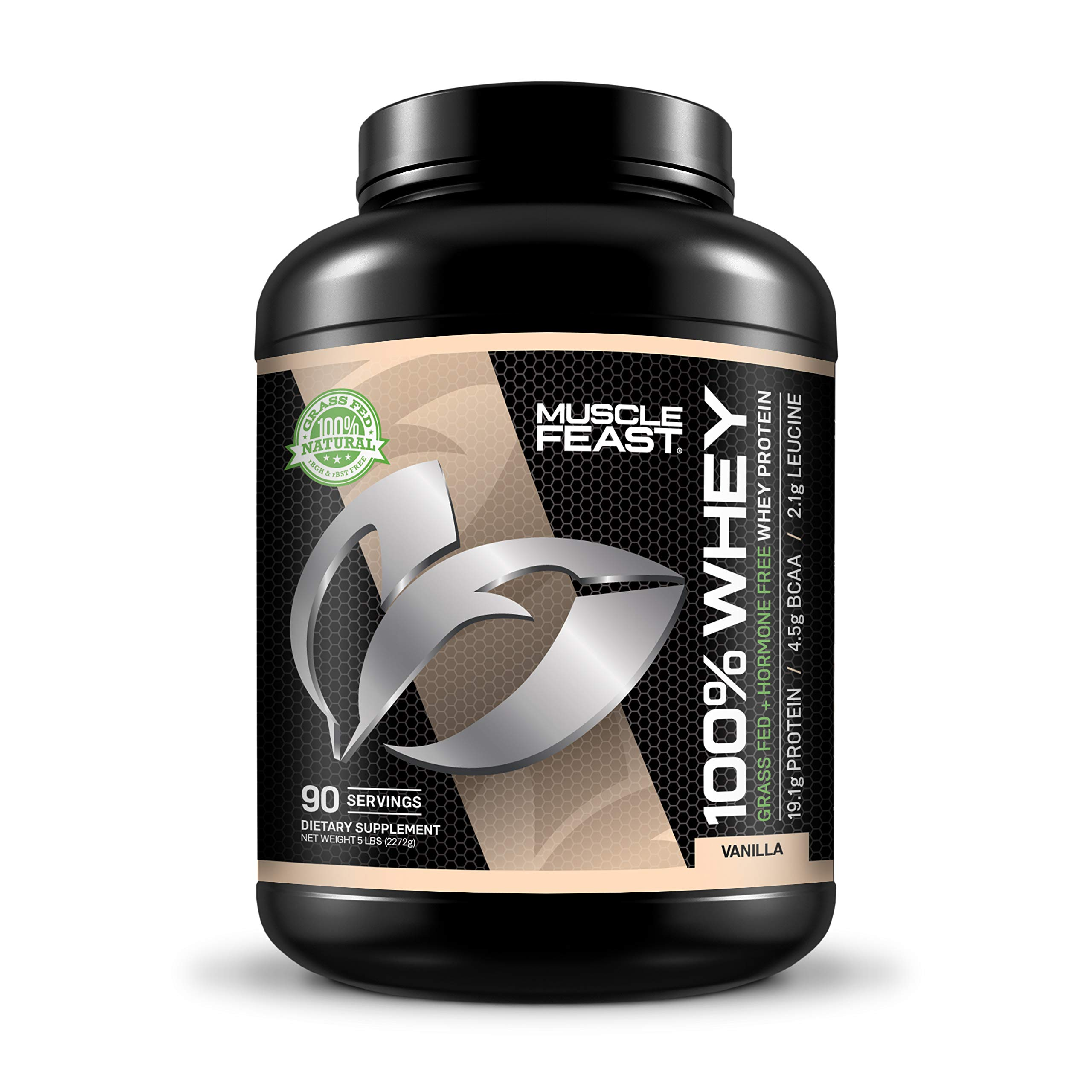 100% Whey Protein   Grass Fed & Hormone Free   Blend of Isolate, Concentrate and Hydrolyzed Whey Protein (5lb, Vanilla) by Muscle Feast