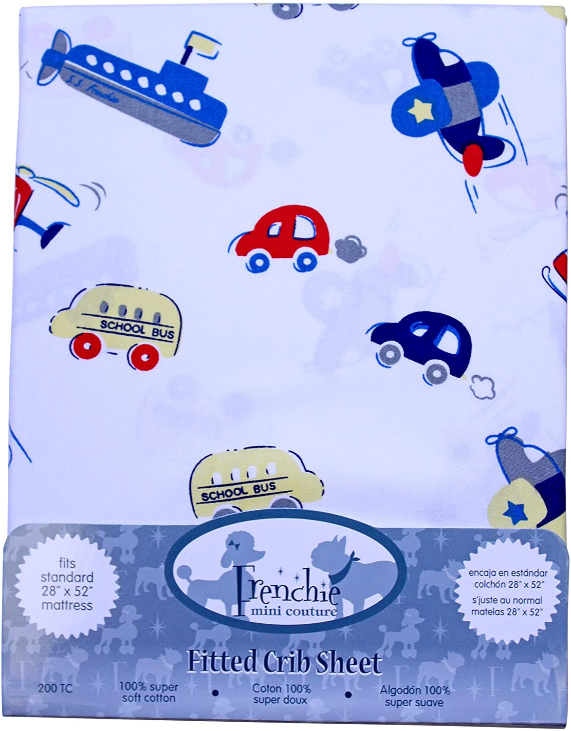 Fitted 71.12 X 132.08 cm Planes Cars Boats Crib Sheets by Frenchie Mini Couture