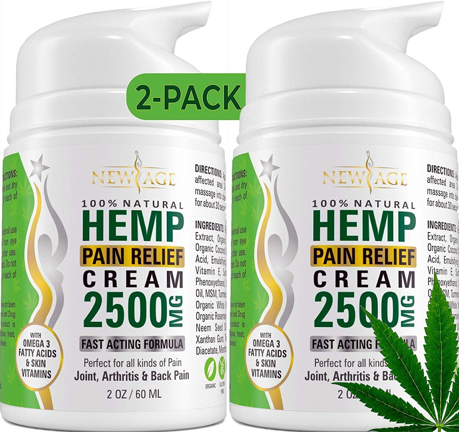 (2-Pack) Hemp Cream Pain Relief by New Age - Natural Hemp Extract Cream for Arthritis, Back Pain Muscle Pain Relief - Efficient Inflammation Cream & Carpal Tunnel Relief - Made in USA - Good for Skin