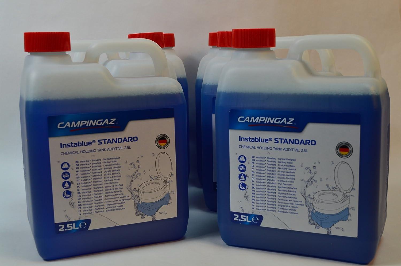 6 Kanister CAMPINGAZ a 2,5L (Gesamtmenge: 15L) InstaBlau® Standard Sanitärflüssigkeit für Chemietoiletten Toilette Chemietoilette Toiletten Camping Wohnwagen Wohnmobil
