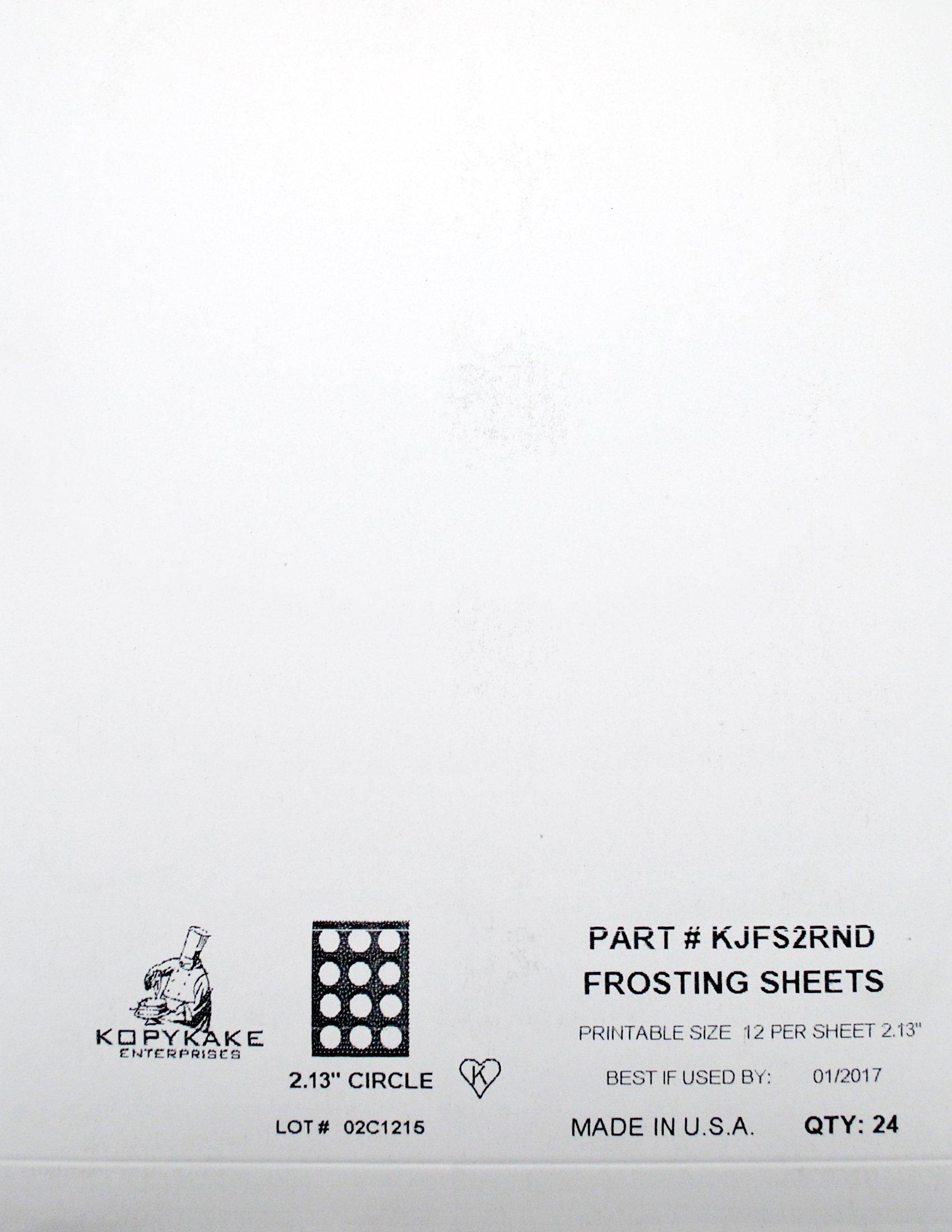 Kopykake KJFS2RND 2'' Circle Frosting Sheets (24 sheets per pack/ 2'' print area)