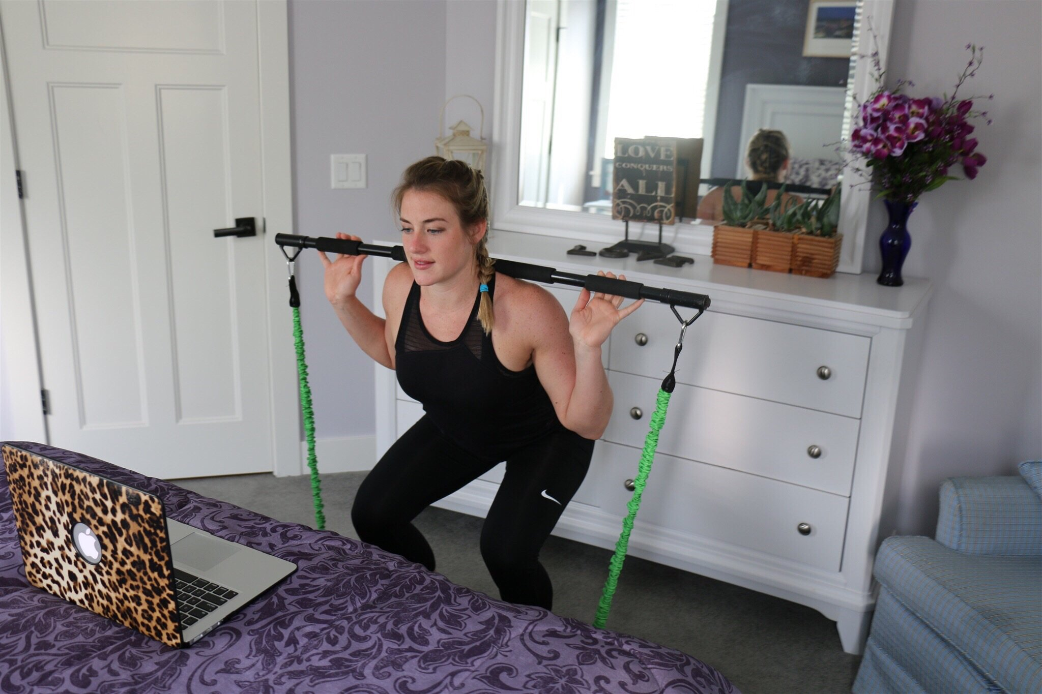 BodyBoss Home Gym 2.0 - Portable Gym Home Workout Package + Extra Set of Resistance Bands (4) - for Full Body Strength Training Workouts at Home or Anywhere You Take it (Green) by BodyBoss (Image #7)