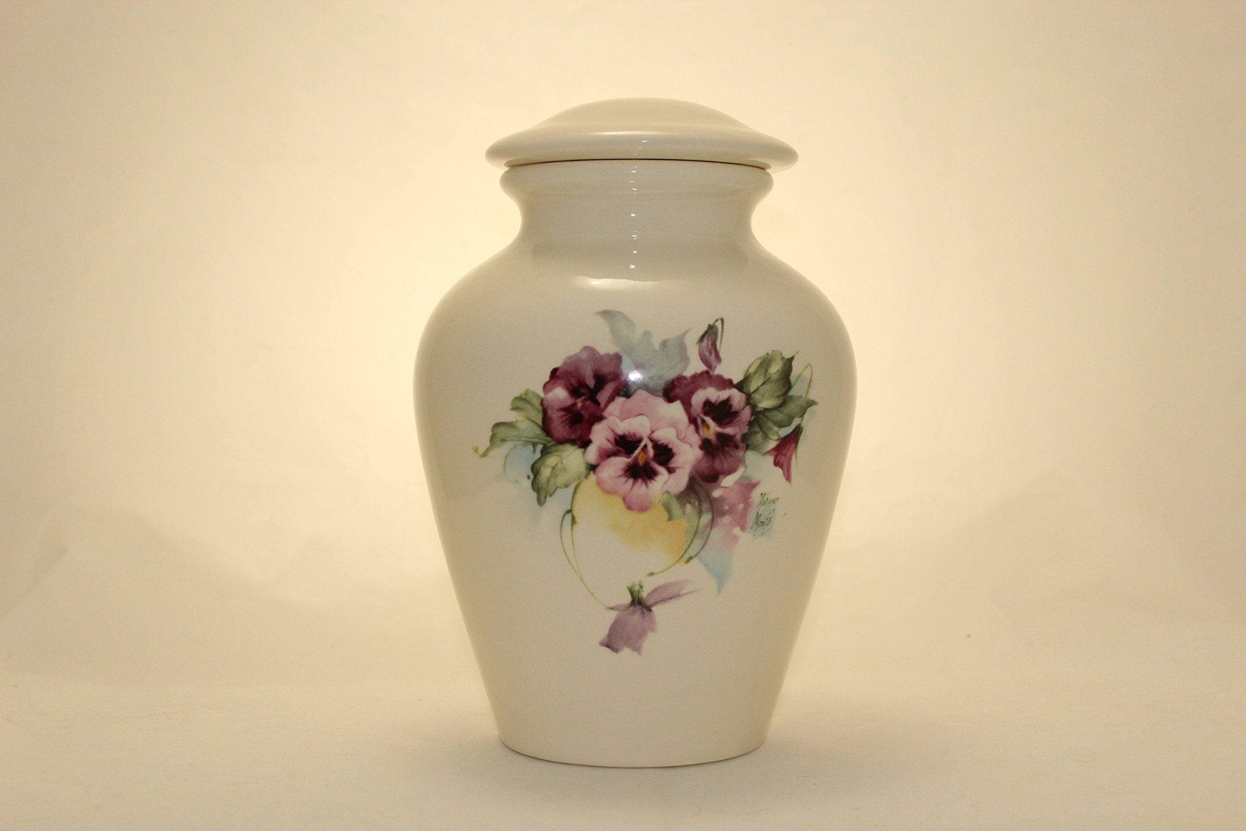 Pansy Urn- Pansies Cremation Urn or Keepsake for Ashes - Hand Made Pottery (Large 136 Cubic inches) by Skyline Arts