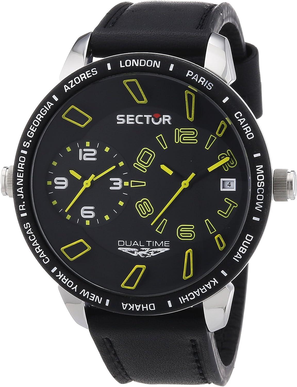 Sector R3251119007 - Reloj analógico de Cuarzo para Hombre con Correa de Piel, Color Negro