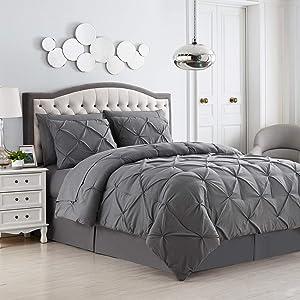 Sweet Home Collection 8 Piece Comforter Set Bag Design, Bed Sheets, 2 Pillowcases, 2 Shams Down Alternative All Season Warmth, Queen, Pintuck Gray