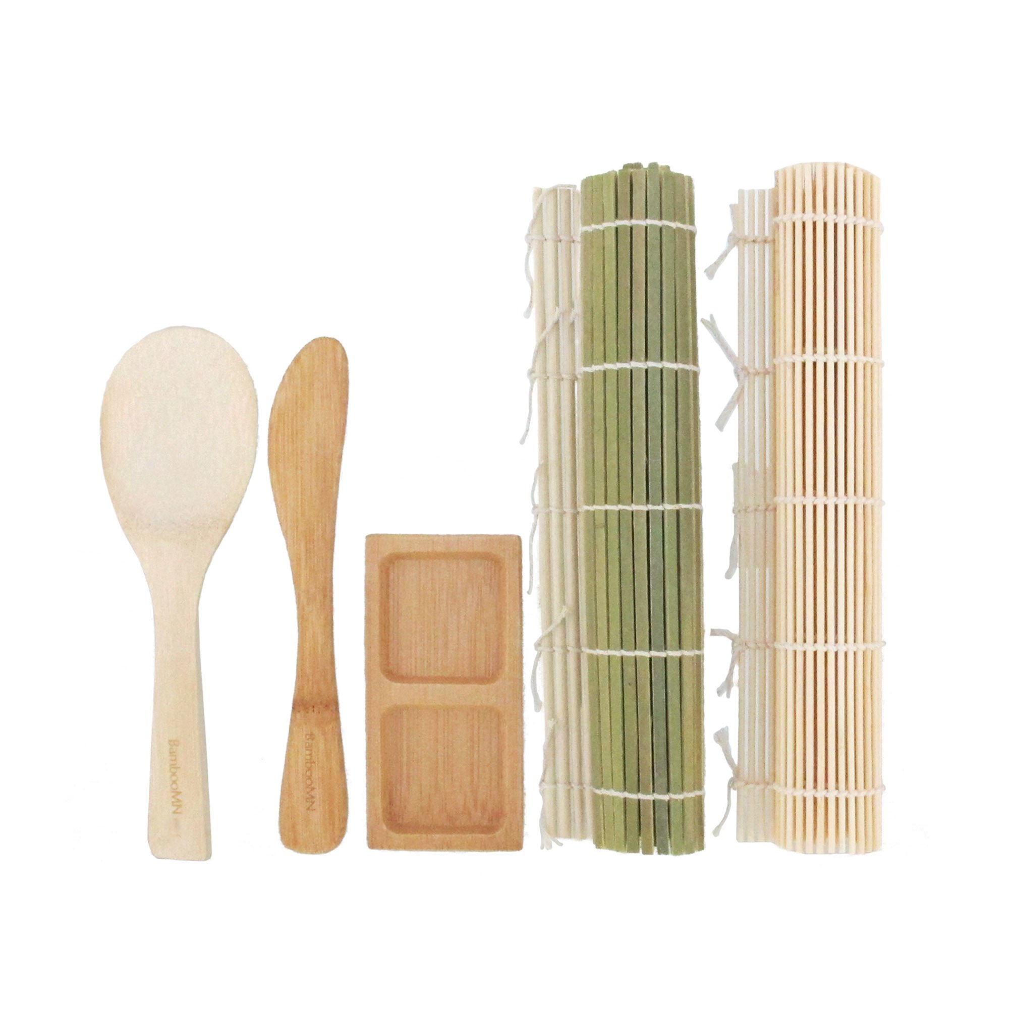 BambooMN Deluxe Sushi Maker Kit 2 SETS of 2x Rolling Mats, 1x Rice Paddle, 1x Spreader, 1x Compartment Sauce Dish | 100% Bamboo Mats and Utensils by BambooMN (Image #2)