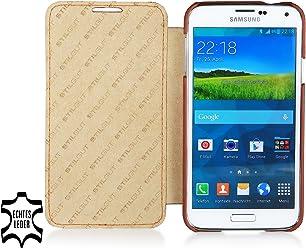 StilGut UltraSlim Case, custodia in vera pelle versione booklet per Samsung Galaxy S5, cognac