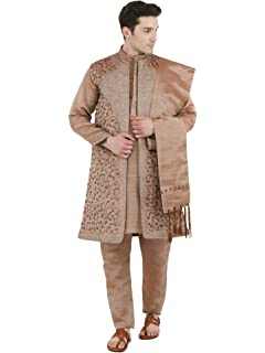 a9a7c4c848 Kurta Pajama Stole and Overcoat Set for Men 4-Pieces Long Sleeve Sherwani  Wedding Party