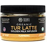 TUR LATTE - USDA Certified Organic Turmeric Latte Mix - 30 servings (4.2 oz) - by RAW AND ROOT - Makes Turmeric Golden Milk - Anti-Inflammatory, USDA Organic, Non GMO, Vegan, Gluten-free, Unsweetened