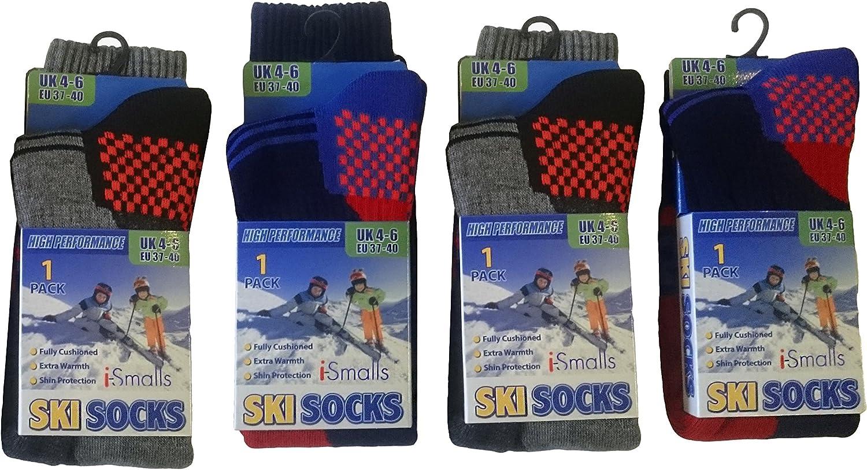 i-Smalls Jungen Thermo hohe Leistung extra gepolsterte Skisocken 4er Pack