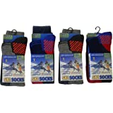 Boy's Kid's Pack of 4 Thermal High Performance Ski Socks with Extra Cushioning